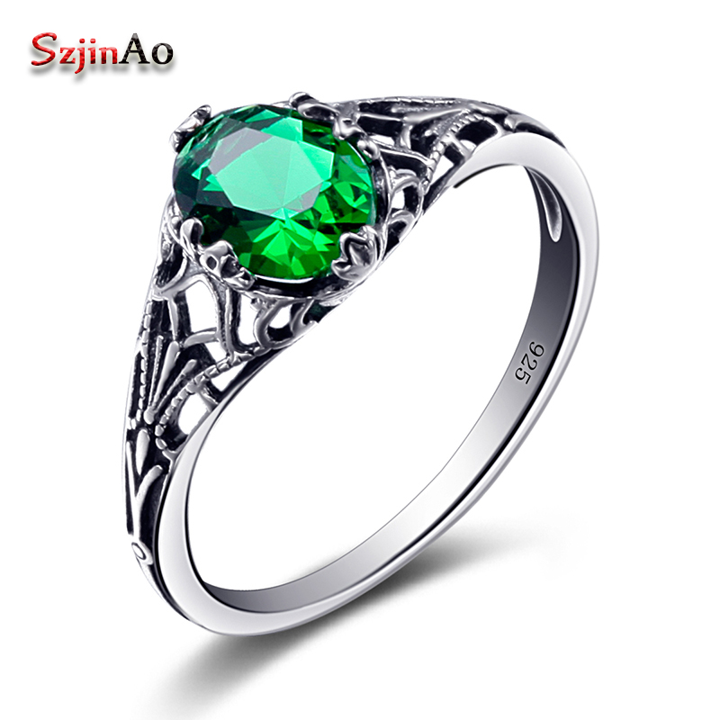 Szjinao Bulgaria Jewelry Green Vintage Charms 925 Sterling Silver Crystal Zircon Ring for Women Wedding Favors