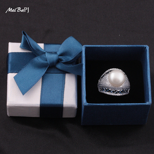 Image 3 - MeiBaPJ Luxurious 925 Silver Ring With 100% Genuine Freshwater Pearl Ring For Women Grade AAAA 10 11mm White Pearl TZ 146Y JZ