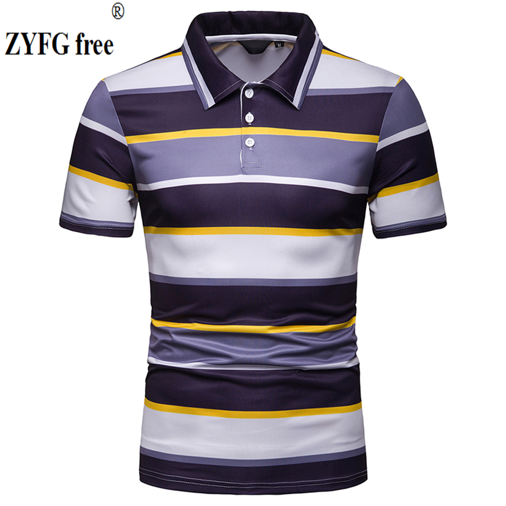 EU size mens short-sleeved POLO shirt striped cotton and polyester blended new casual style tops
