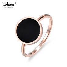 Lokaer Vintage Wedding Ring For Women Minimalist Rose Gold Color Round Acrylic Stone 316L Stainless Steel Rings Jewlery R17041(China)