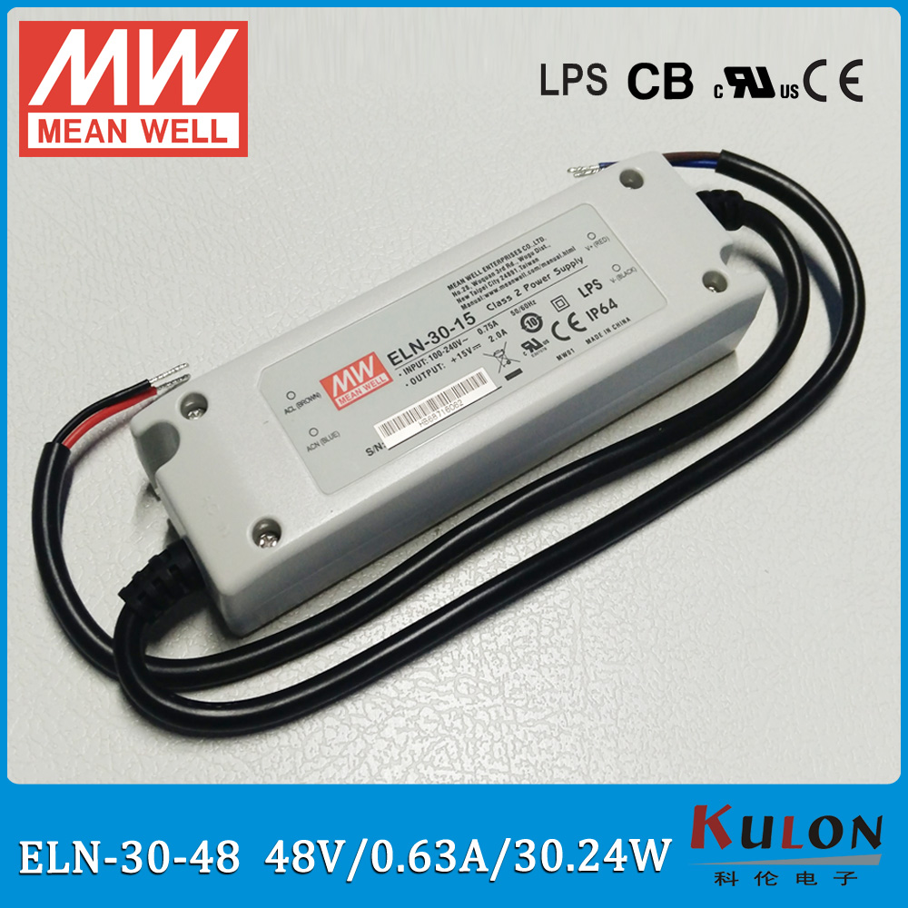 Original Meanwell ELN-30-48 led driver 30W 0.63A 48V IP64 waterproof LED power supply ELN-30 Original Meanwell ELN-30-48 led driver 30W 0.63A 48V IP64 waterproof LED power supply ELN-30
