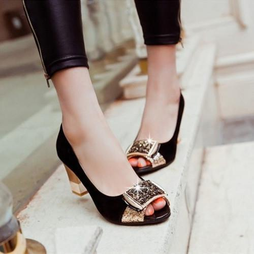 Koovan Women Pumps 2017 New Fashion Flash Diamond Square Buckle Women High-heeled Shoes With Thick Sequined Sandals Fish Head 2016 spring new european and american fashion shoes thick with fish head shoes nightclub new ultra high heels sandals b454
