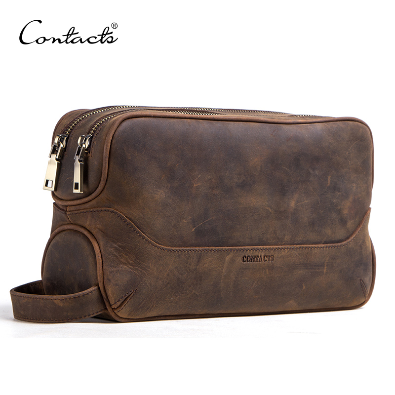 CONTACT'S Crazy Horse Cow Leather Cosmetic Bag For Men Travel Toiletry Bag Large Capacity Wash Bags Man's Make Up Bags Organizer