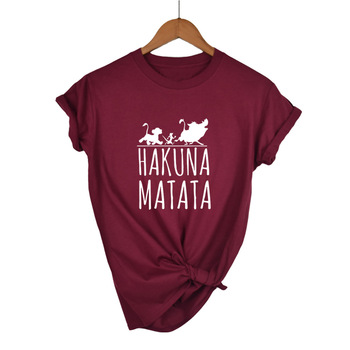 Plus Size Female T Shirt HAKUNA MATATA Cartoon Women Summer 2019 White Black Tshirt Homme Cute Super Soft T-shirts