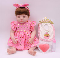 2018 New Arrival Baby Girl Reborn Dolls Kids Toy Full Silicone Vinyl 23'' 57 cm Real Life Bebe Reborn with brown eyes Alive Doll