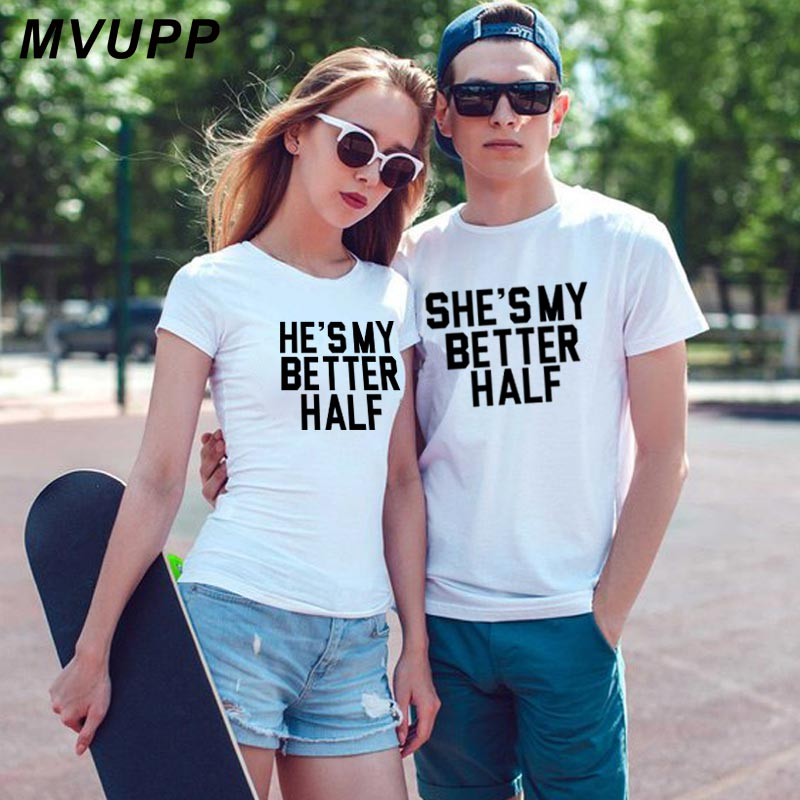 HE SHE BETTER HALF funny clothes for couple t shirt lovers girlfriend women and men husband wife matching outfits white family