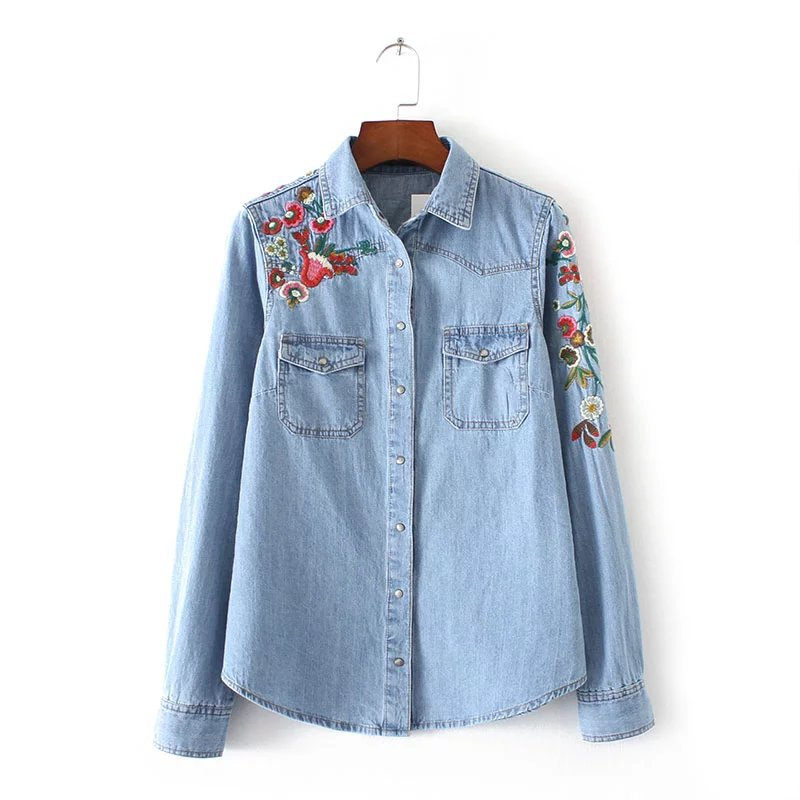 Blue cotton floral boyfriend denim shirt blouse women for Blue denim shirt for womens