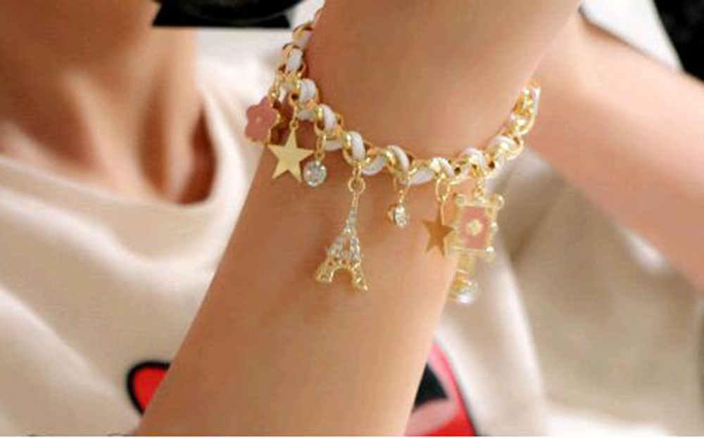 Vienkim New Hot sell  Fashion Jewelry Multielement Gold Chain Leather Rope Crystal Handmade Bracelet Eiffel Tower Star Pendant 17