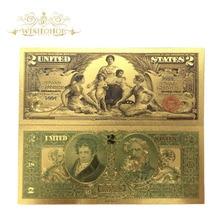 10 шт./лот 1896 год американские Золотые банкноты USD 2 доллар банкноты в 24k золотые купюры поддельные бумажные деньги для сбора