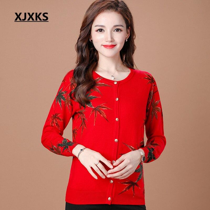 XJXKS 2018 autumn winter new women cashmere cardigan loose plus size fashion printing knitting sweater cardigan