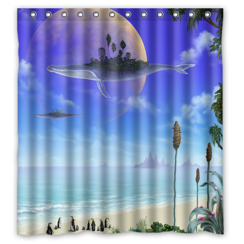 Penguins Of Madagascar Shark Custom Shower Curtain Fabric Bath Bathroom Waterproof Curtains Size 48x7260x7266x72 Inches In From