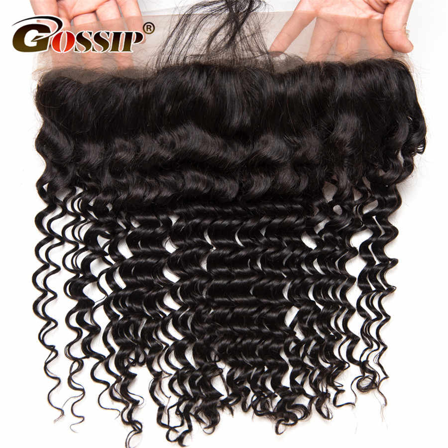 Remy Hair Deep Wave Frontal 13x4 Pre Plucked Lace Frontal Closure With Baby Hair Frontal Brazilian Hair 100% Human Hair