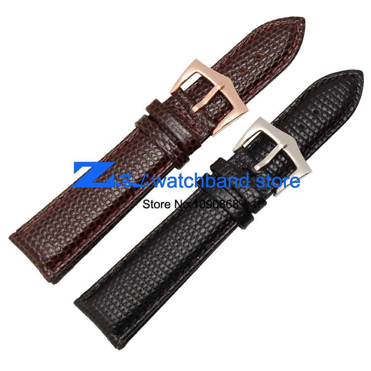 Fashion leather bracelet cowhide Lizard leather grain watchband Round grain wristwatches band watch strap 18mm 19mm 20mm  22mm
