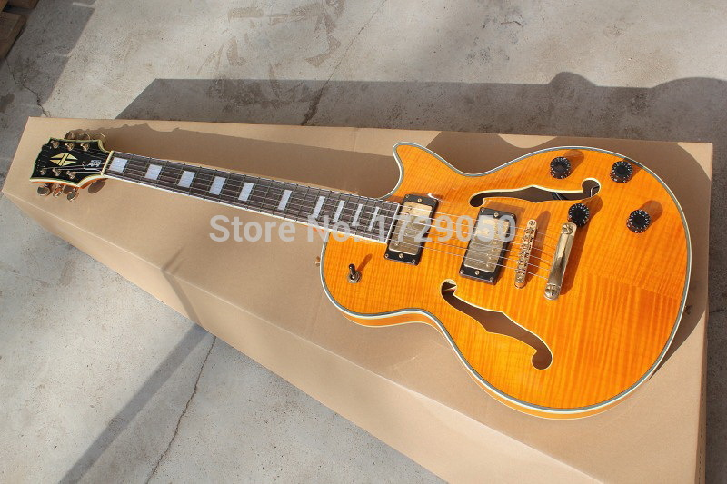 Chinese musical Instruments Factory custom 2017 new with F hole Semi Hollow body yellow Tigrina Burst  jazz electric guitar 218 chibson lp custom small jazz electric guitar body ebony fingerboard with f hole semi hollow body in aged sunburst 110813
