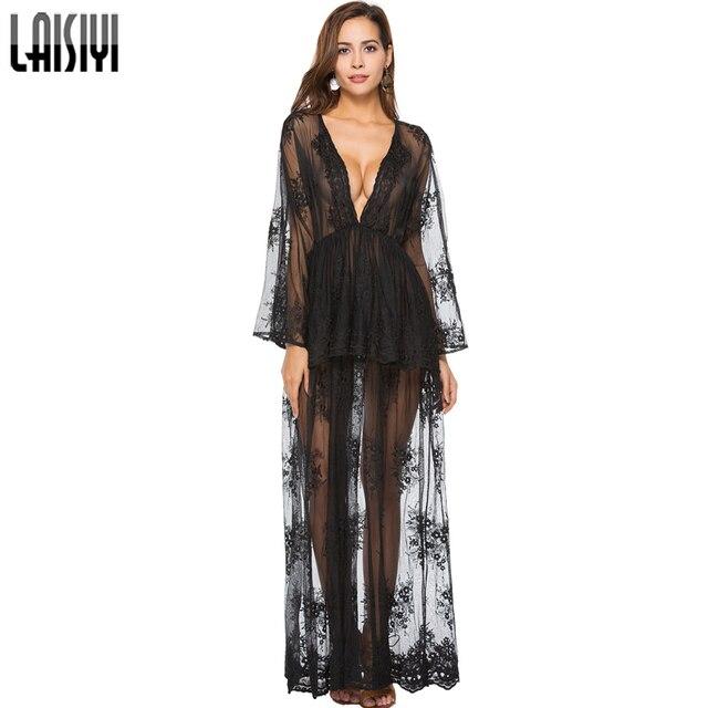 727bf457763 LAISIYI Spring Long Sleeve Deep V neck Ruffles Lace Dress Embroidery Sexy Boho  Maxi Dresses Black White Vestidos ASDR20730