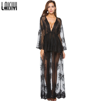 LAISIYI Spring Long Sleeve Deep V Neck Ruffles Lace Dress Embroidery Sexy Boho Maxi Dresses Black