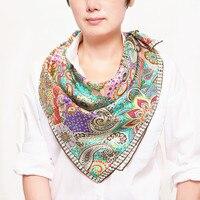 Новый дизайн шелковый шарф модные женские шарф Цветы два цвета Размеры: 90x90 Материал: 100% твил шелк Толщина: 14 мм