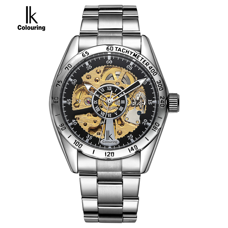ФОТО IK Men 2017 Wristwatches Roman Number Scale Automatic Self-Wind Watch Hollow Pointer Digital Meter Circle Hardlex Business Watch