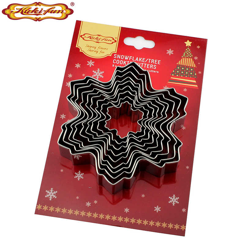 1 set Cookie Cake Mold 9 pieces stainless steel Cookie Cutter Five-pointed Star Baking Fondant