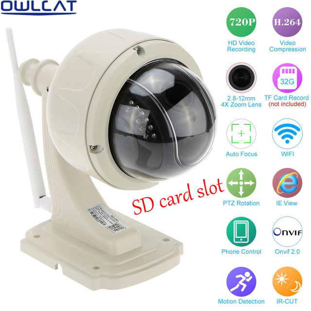 Owlcat HD 720 1080P Outdoor Waterproof Security CCTV Camera PTZ  Speed WIFI IP Camera 4X Zoom Auto Focus Lens Micro SD Card 2016 outdoor 1080p wifi ptz camera array ir 2 8 12mm lens 4x optical zoom auto focus waterproof speed dome cam support sd card