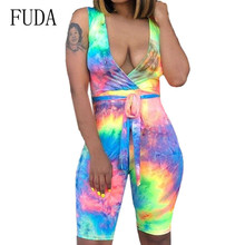 FUDA Blue Vintage Jumpsuits with Belt for Women Sexy Deep V-neck Hollow Out Bodycon Bandage Playsuits Summer Retro Overalls