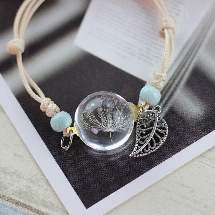 LKO new Glass Bracelet Weave Lucky Flower Bracelets Handmade Dandelion Woven Dried Flowers Glass Beads Bracelet Women Jewelry