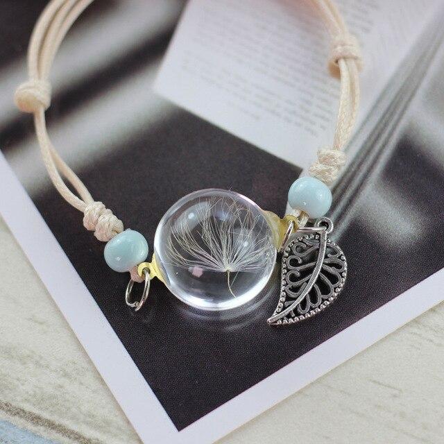 LKO nueva pulsera de cristal tejido flor de la suerte pulseras hecho a mano diente de león tejido flores secas cuentas de vidrio pulsera joyería de mujer