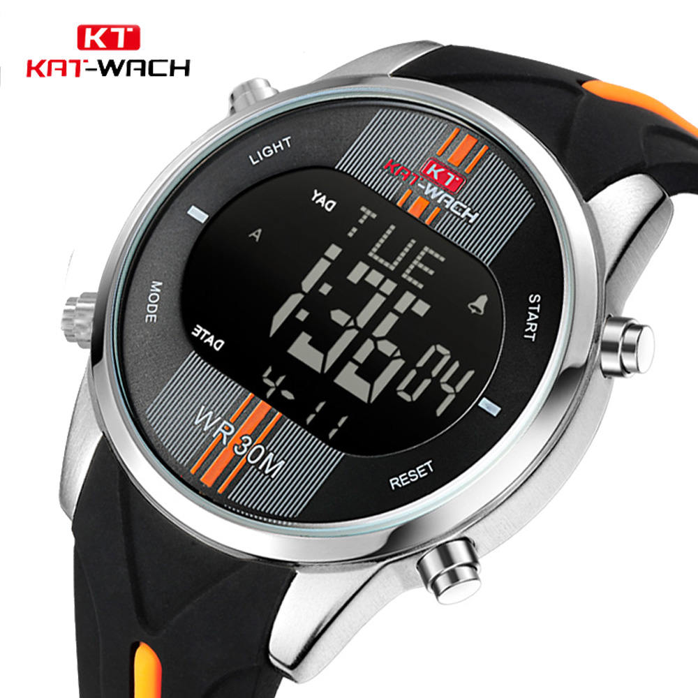 KAT-WACH Brand New Men Watch Fashion Outdoor Sport Watches Men's Waterproof Silicone Strap Led Digital Watch Male Analog Clock