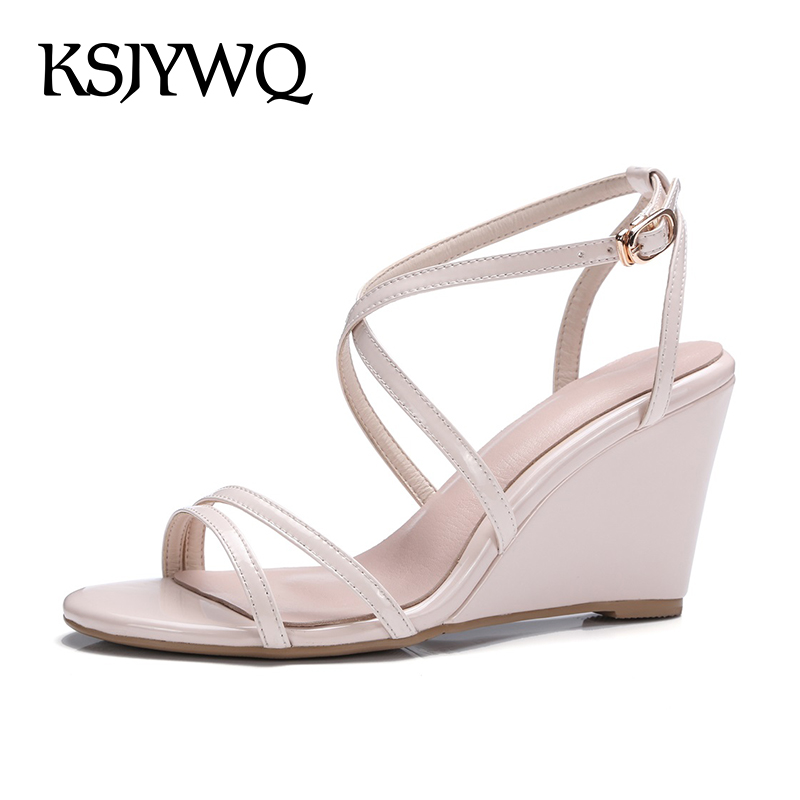 KSJYWQ Summer Wedge Sandals for Women Genuine leather Sexy Open-toe Shoes 7.5 cm High heels for Ladies Party Box Packing Q3019