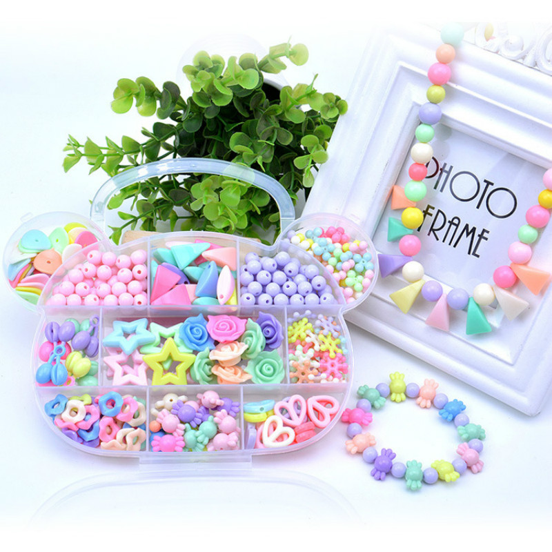 280~400pcs/set Train Eye exercises Plastic Acrylic Bead Kit DIY Toys Jewelry Making Kids Beads Creative Birthday Gifts for Girl