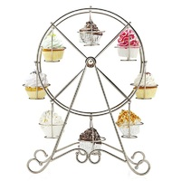 Practical Ferris Wheel 8 Cups Silver Stainless Steel Cupcake Stand Cake Holder Decorating Party Supplies