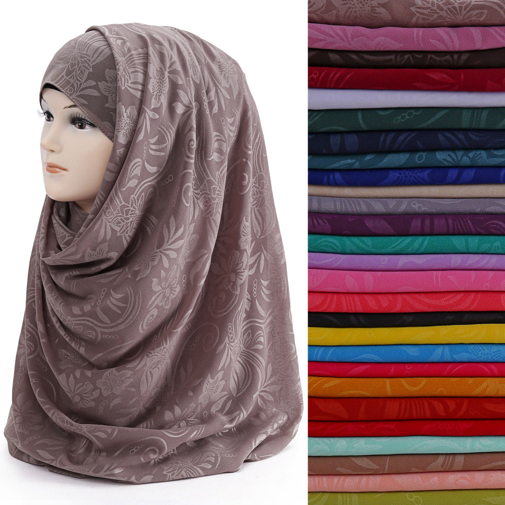 10pcs/lot Flower Print Pearl Bubble Chiffon Women's Muslim Hijab Scarf Shawl Wrap Head Wear