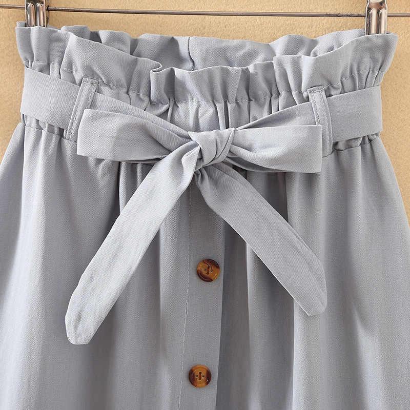 Letnie jesienne spódnice damskie 2018 Midi kolano długość koreański elegancki guzik spódnica z wysokim stanem kobiet plisowana spódnica szkolna
