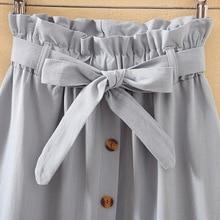 Summer Autumn Skirts Womens 2018 Midi Knee Length Korean Elegant Button High Waist Skirt Female Pleated School Skirt