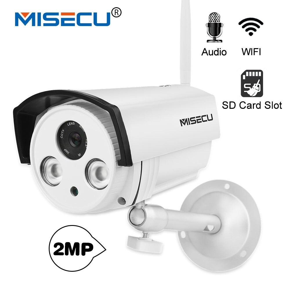 все цены на MISECU H.264+ Audio SD card 1080P IP Wifi Camera Sound 2pcs Array LED P2P email alert Night vision Outdoor Bracket ONVIF CCTV