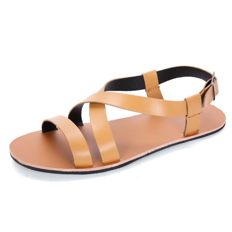 Casual Hommes Respirant Solide Vente brown white Black Mode D'été Cuir Chaussures Haute Laisumk Sandales Qualité De Plage En Chaude R5gqH0q