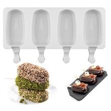 Еда безопасный силиконовая форма для льда «формы для крема 4 ячейки ледяной куб формы производитель Popsicle DIY домашний морозильник форма мороженое на палочке