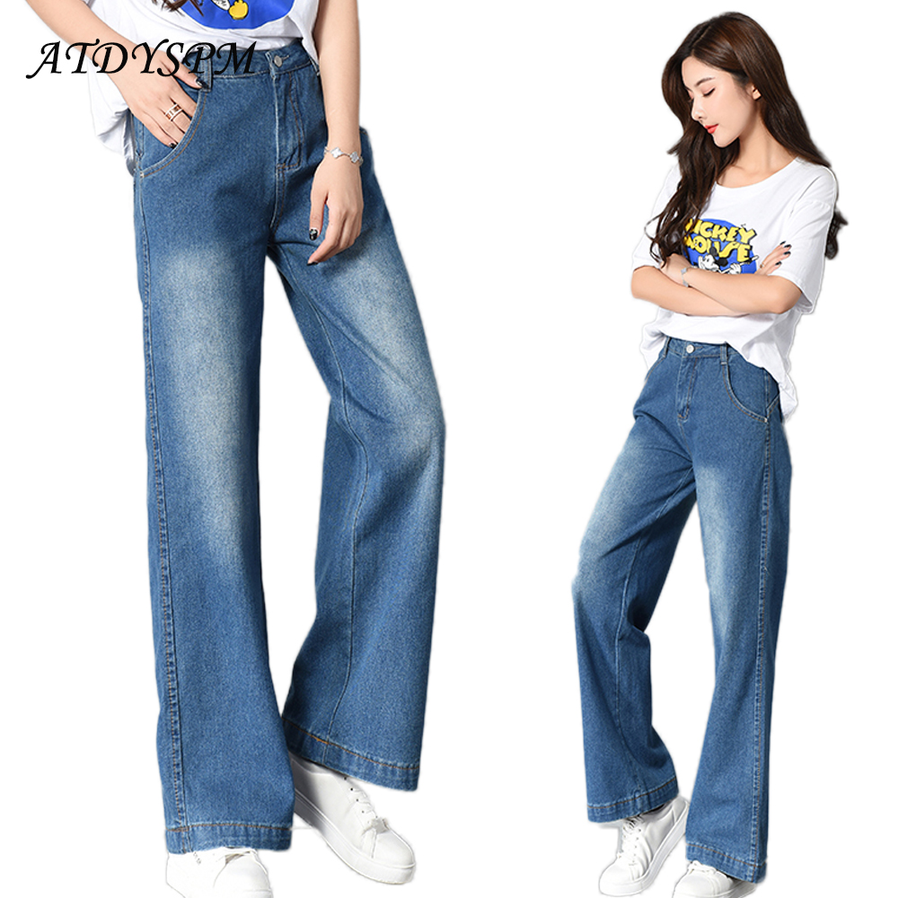 Women 's Retro BF Style Loose Washed Jeans Female Elegant Wide Leg Pants Denim Trousers Mid-Waist Cotton Casual Pants Jeans