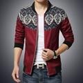 2016 New Fashion Brand Jacket Men Trend Flower Sleeve Patchwork Slim Fit Mens Designer Clothes Men Casual Jacket M-5XL CD038