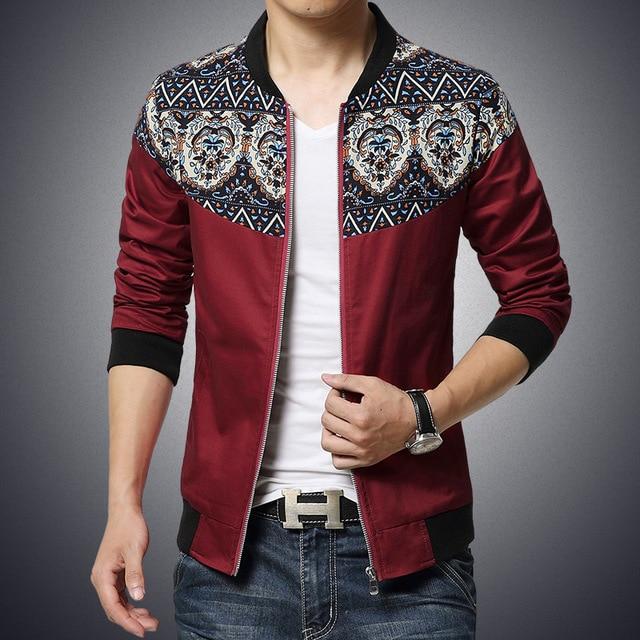 06f8f6d7f01 2018 New Fashion Brand Jacket Men Trend Flower Sleeve Patchwork Slim Fit Mens  Designer Clothes Men Casual Jacket M-5XL JK050