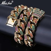 MISSFOX HIP Hop Hombres 18mm collar de lujo helado diamante Bling colorido CZ Miami Arco Iris 24K oro PT Cuban Link Chain collar(China)