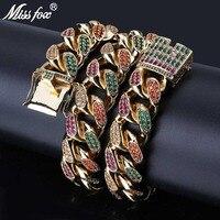 MISSFOX HIP Hop Men 18mm Luxury Necklace Iced Out Diamond Bling Colorful CZ Miami Rainbow 24K Gold PT Cuban Link Chain Necklace