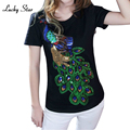 Sequins Cartoon Cotton Short Sleeve T-Shirt Summer Tees Sequins Peacock Shirts Women Fashion Tops TShirt Casual Plus Size B001