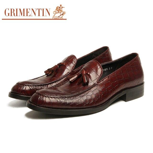 9f824ad5b GRIMENTIN Marca de moda borla sapatos de couro genuíno dos homens handmade  puro estilo crocodilo homens