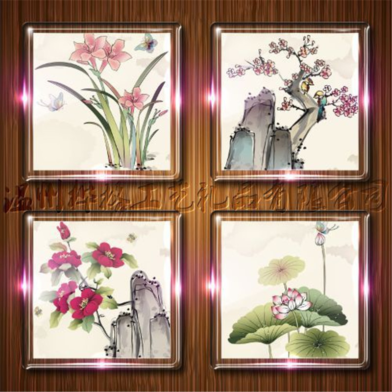 4Pcs / Lot Magnetic Small frame Fridge Magnets Refrigerator Decor ...