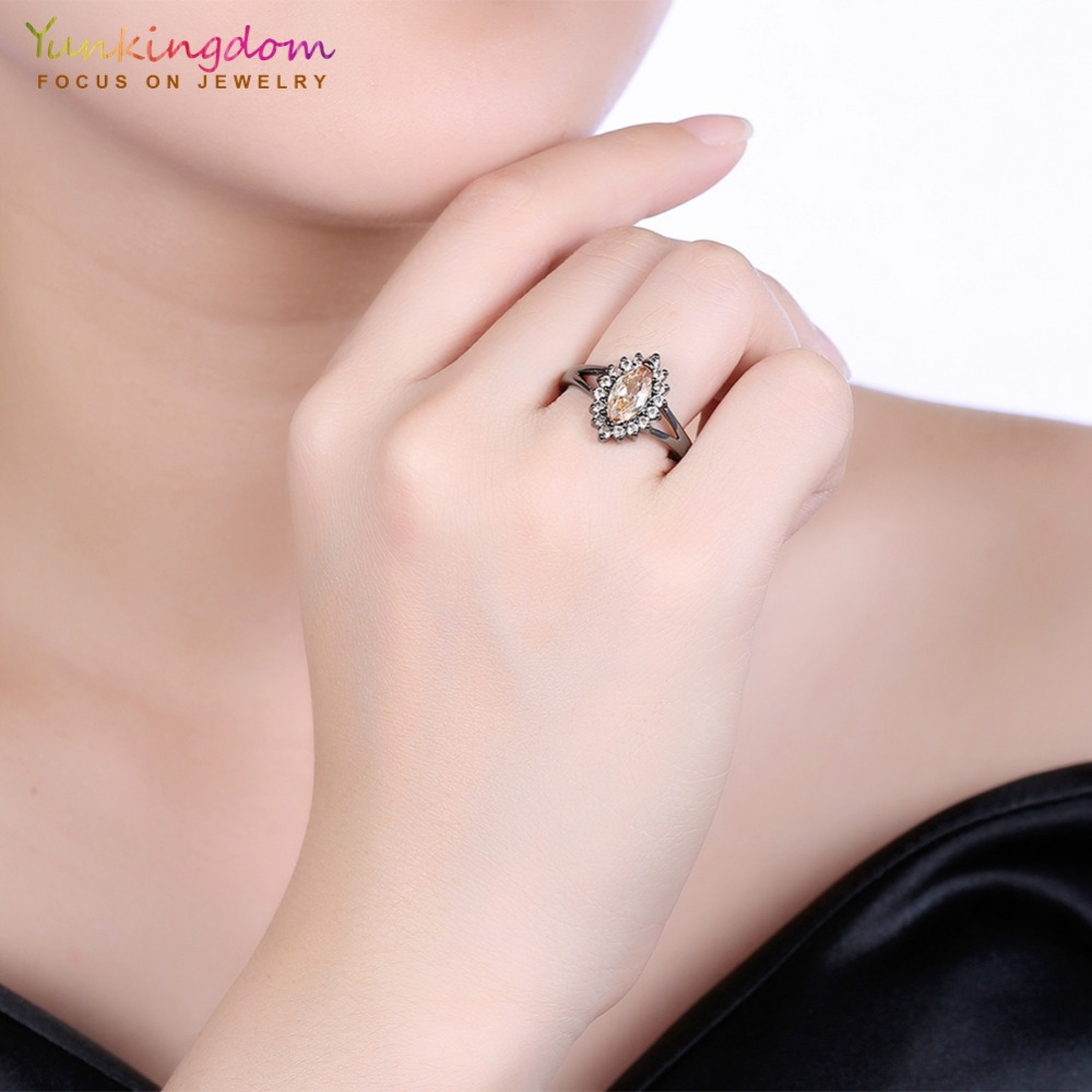 Simple Trendy Champagne Cubic Zirconia Black Gold Color Rings for ...