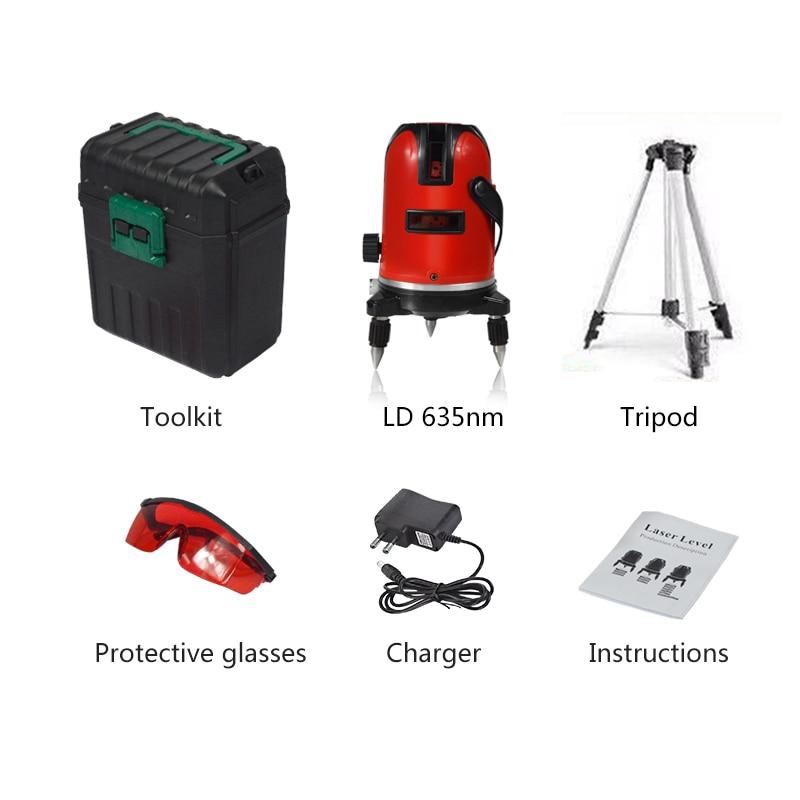 PRACMANU 5 линий 6 точек лазерный уровень автоматический самонивелирующийся 360 вертикальный и горизонтальный наклон градусов поворотный LD 635nm открытый режим - Цвет: RED toolkit tripod