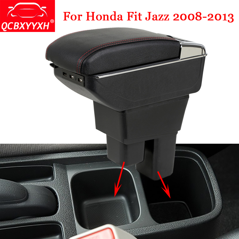 QCBXYYXH Car Styling ABS Car Armrest Box Center Console Storage Box Holder Case For Honda Jazz Fit 2008-2013 Auto Accessories hot black armrest storage box storage box armrest center console for honda fit 2014 2015 only fit for low equiped model