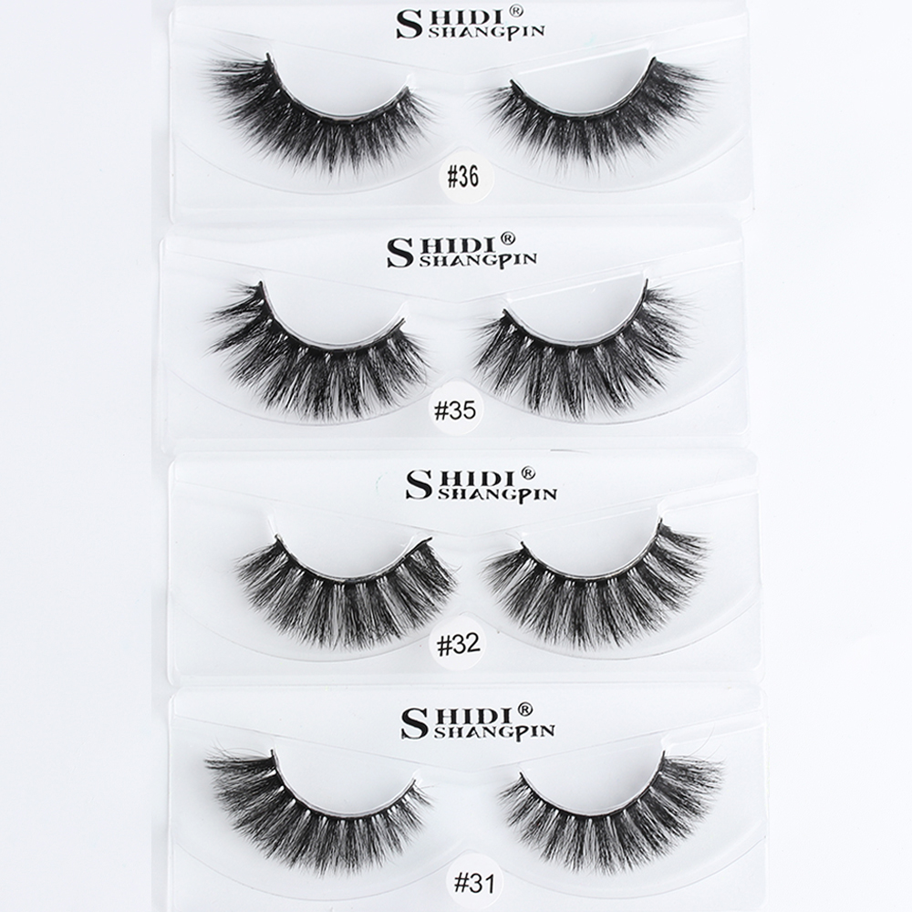 1 Pair 100% Mink Hair False Eyelashes Handmade Full Strips Fake Lashes Thick Long Cross Fluffy Wispy Eye lashes Extension Tools