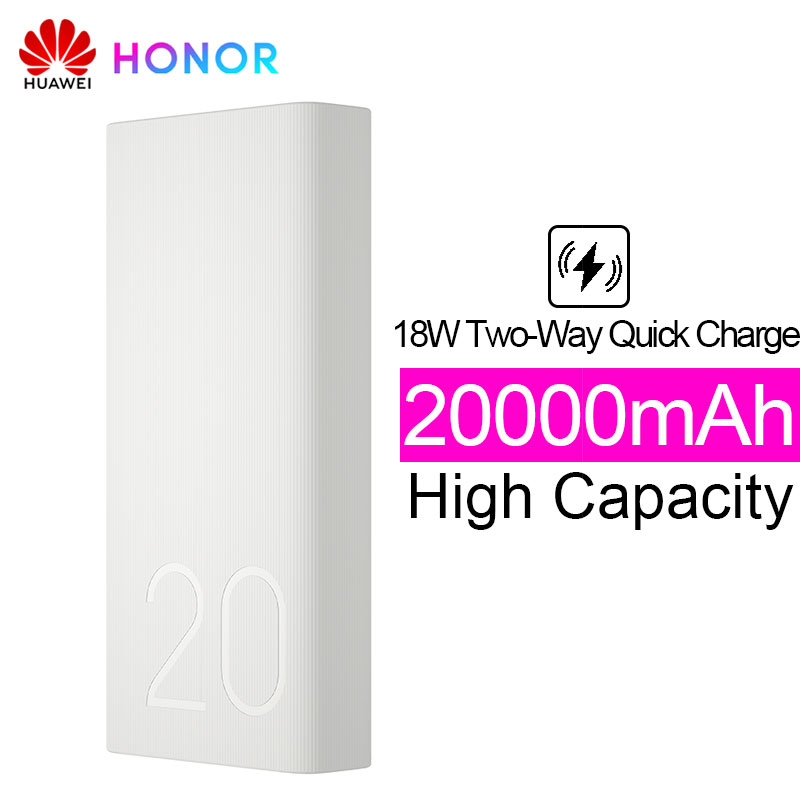 Huawei Honor batterie externe 2 20000 mAh Max 18 W Charge rapide bidirectionnelle borne chargeuse portable pour Honor 10 Note 10 V20 Play Magic 2 Nova 3 4